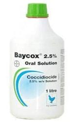 La coccidiosis y su tratamiento. Recipiente de 1 Litro de Baycox al 2,5% como tratamiento para la Codicciosis.