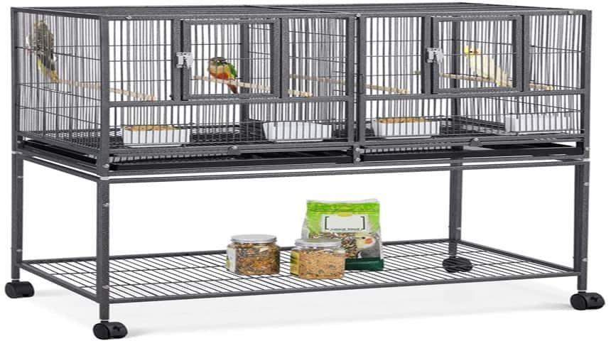 jaula para pajaros grande con soportes para comida